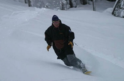 Early morning powder run . . . John Kohlmoos