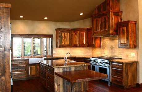 re-claimed barnwood cabinetry in kitchen of brasada ranch home