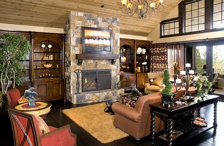 great room with black hickory flooring