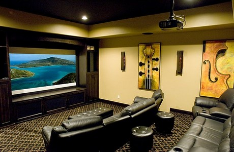 theater room with butt-shaker amp in bend oregon