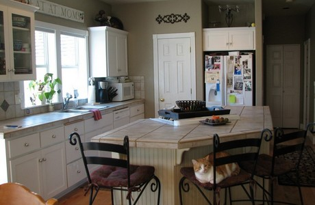 Spot the cat in the kitchen at 3010 Craftsman Drive in Bend Oregon