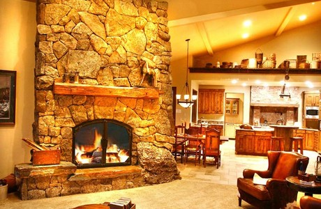 Montana Moss Fireplace And Open Great Room