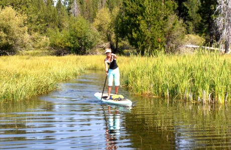 Realtor Sandy Kohlmoos, SUP on the Deschutes
